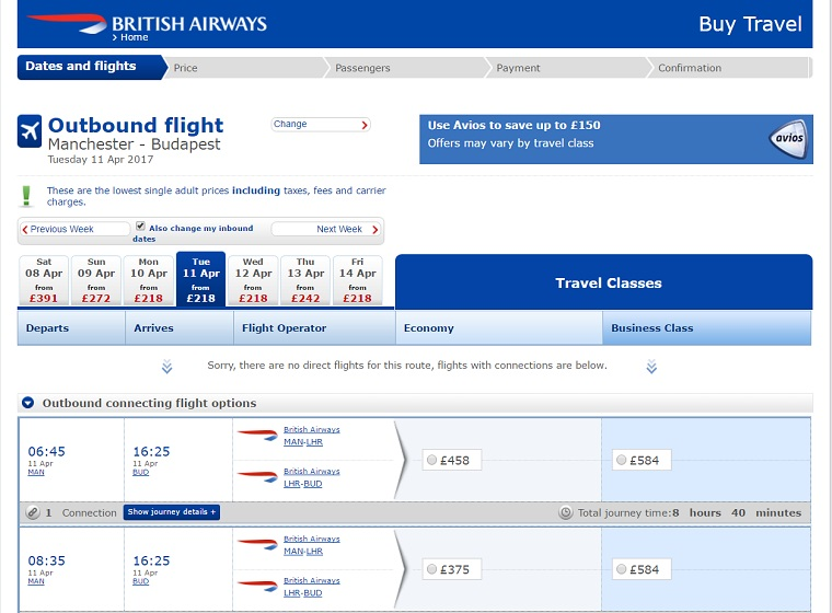 The British Airways Same exact Flight, Fees way different because of what they add on!