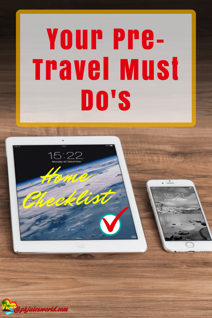 Pre-Travel Home Checklist, Home Checklist, home security while away, how to secure your home while away, what to do to your home before traveling …Save/Re-pin if you love it…