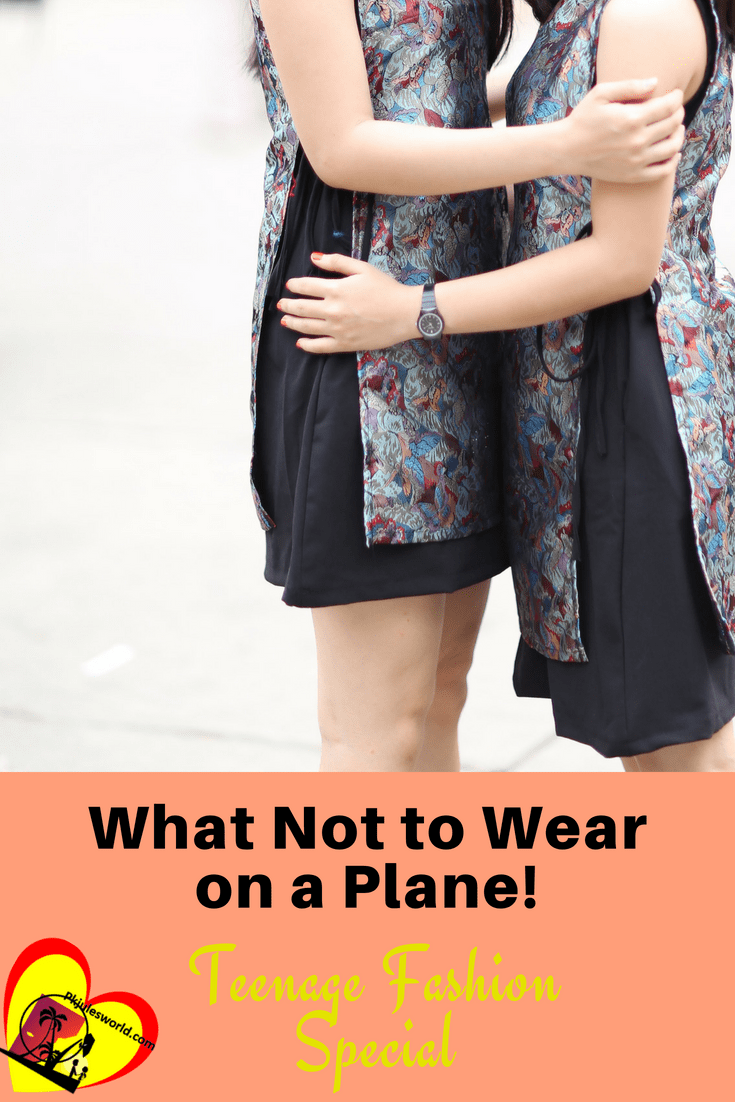 Be sure to help your teenager avoid wearing these 7+ things when traveling on a plane. The Pkjulesworld List of what not to wear on a plane both for safety and comfort.